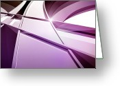 Illustration Technique Digital Art Greeting Cards - Intersecting Three-dimensional Lines In Purple Greeting Card by Ralf Hiemisch