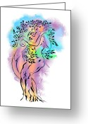 Colourful Mixed Media Greeting Cards - Intertwined Greeting Card by Alex Tavshunsky