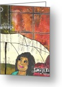 Survivor Mixed Media Greeting Cards - Into EVERY Life Some Rain Must Fall... SING Anyway Greeting Card by Angela L Walker