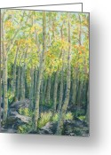 Woods Pastels Greeting Cards - Into the Aspens Greeting Card by Mary Benke
