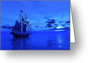 Sailing Ships Greeting Cards - Into the Blue Greeting Card by Timothy McPherson