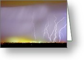 The Lightning Man Greeting Cards - Into the Colorful Night Greeting Card by James Bo Insogna