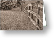 Barbed Wire Fences Photo Greeting Cards - Into the Distance BW Greeting Card by JC Findley