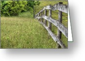 Barbed Wire Fences Photo Greeting Cards - Into the Distance  Greeting Card by JC Findley
