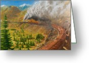 Trains Painting Greeting Cards - Into the Front Range Greeting Card by Christopher Jenkins