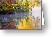 Foggy Morning Greeting Cards - Into the mist Greeting Card by Bill  Wakeley