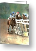 Horserace Greeting Cards - Into The Stretch And Headed For Home-Secretariat Greeting Card by Arline Wagner