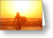 Surf Silhouette Greeting Cards - Into the Sun Greeting Card by Sabino Cruz