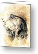 Cowgirl Prints Greeting Cards - Into The Sunset Greeting Card by Debra Jones