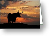 Old West Greeting Cards - Into the Sunset Greeting Card by Robert Anschutz