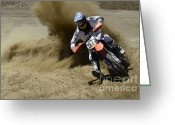 Motorcycle Racing Greeting Cards - Into The Turn 1 Greeting Card by Bob Christopher