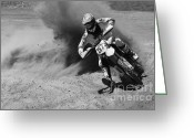 Motorcycle Racing Greeting Cards - Into The Turn 1 Monochrome Greeting Card by Bob Christopher