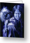 Monotone Painting Greeting Cards - Inuit Mother and Child Greeting Card by Nancy Griswold