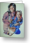 Portrature Greeting Cards - Inuit Mother and Child Greeting Card by Penney Lockhart
