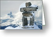 Mountain Summit Greeting Cards - Inukchuk Whistler Greeting Card by Pierre Leclerc