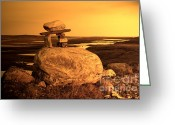 Inuksuk Greeting Cards - Inukshuk on a Rock Greeting Card by Adam Ellis