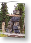 Inuksuk Greeting Cards - Inuksuk Greeting Card by Richard Stillwell