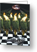 Damsel In Distress Digital Art Greeting Cards - Invasion Of The Alien Bushes Greeting Card by Larry Butterworth