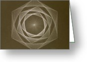 Card Art Greeting Cards - Inverted Energy Spiral Greeting Card by Jason Padgett