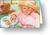 Tea Pastels Greeting Cards - Invitation Only Tea Party Greeting Card by Sandra Valentini