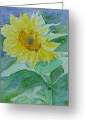Sunflower Studio Art Greeting Cards - Inviting Sunflower Small Sunflower Art Greeting Card by K Joann Russell