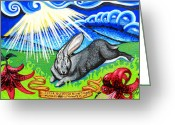 Rabbit Prints Greeting Cards - Iorek Byrnison Silvertongue Greeting Card by Genevieve Esson