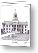 College Buildings Images Greeting Cards - Iowa Greeting Card by Frederic Kohli