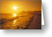 Vacationers Greeting Cards - Ipanema Beach in Rio de Janeiro Brazil Greeting Card by Utah Images