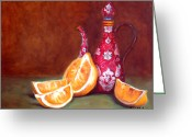 Oil Painting Greeting Cards - Iranian Lemons Greeting Card by Enzie Shahmiri