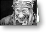 Ethnic Painting Greeting Cards - Iranian Man Greeting Card by Enzie Shahmiri