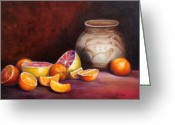 Oil Painting Greeting Cards - Iranian Still Life Greeting Card by Enzie Shahmiri