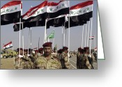 Iraqi Military Greeting Cards - Iraqi Army Soldiers Standing Greeting Card by Stocktrek Images