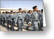 Police Officers Greeting Cards - Iraqi Police Cadets Being Trained Greeting Card by Andrew Chittock