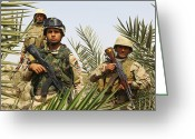 Iraqi Military Greeting Cards - Iraqi Soldiers Conduct A Foot Patrol Greeting Card by Stocktrek Images