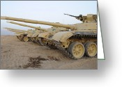 Gun Barrel Greeting Cards - Iraqi T-72 Tanks From Iraqi Army Greeting Card by Stocktrek Images