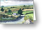 Abstract Landscapes Greeting Cards - Ireland County Monaghan Greeting Card by Scott Bennett