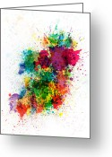 Travel Greeting Cards - Ireland Map Paint Splashes Greeting Card by Michael Tompsett