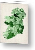 Eire Greeting Cards - Ireland Watercolor Map Greeting Card by Michael Tompsett