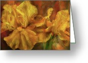 Iris Art Mixed Media Greeting Cards - Iris Abstract Greeting Card by Carol Cavalaris