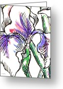 Roses Greeting Cards - Iris Abstract Painting 2 Greeting Card by Gordon Punt