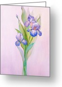 Flower Still Life Prints Greeting Cards - Iris After the Rain Greeting Card by Linda Ginn