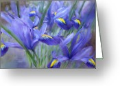 Iris Art Mixed Media Greeting Cards - Iris Bouquet Greeting Card by Carol Cavalaris