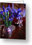 Silver Pitcher Greeting Cards - Iris in Silver Pitcher Greeting Card by Paul Cutright
