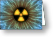 Precaution Greeting Cards - Iris With Radiation Warning Sign Greeting Card by Pasieka