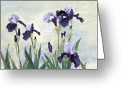 Sunflower Studio Art Greeting Cards - Irises Beautiful Flowers Painting Floral Art Greeting Card by K Joann Russell