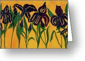Purple Greeting Cards - Irises Greeting Card by Enzie Shahmiri