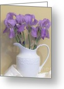 Pitcher Greeting Cards - Irises In A Pitcher Greeting Card by Marsha Heiken