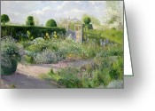 Garden Pathway Greeting Cards - Irises in the Herb Garden Greeting Card by Timothy Easton