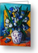 Vermillon Greeting Cards - Irises Greeting Card by EMONA Art