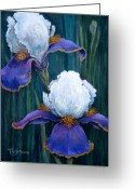 Blue Flowers Pastels Greeting Cards - Irises Greeting Card by Tanja Ware